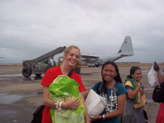 sister agreda with her companion before leaving the devastated Tacloban City